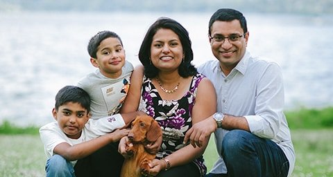 Dr. Asha Madhavan, a Sammamish dentist, and her family.
