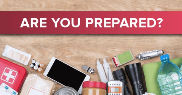 Image of items in an emergency preparedness kit