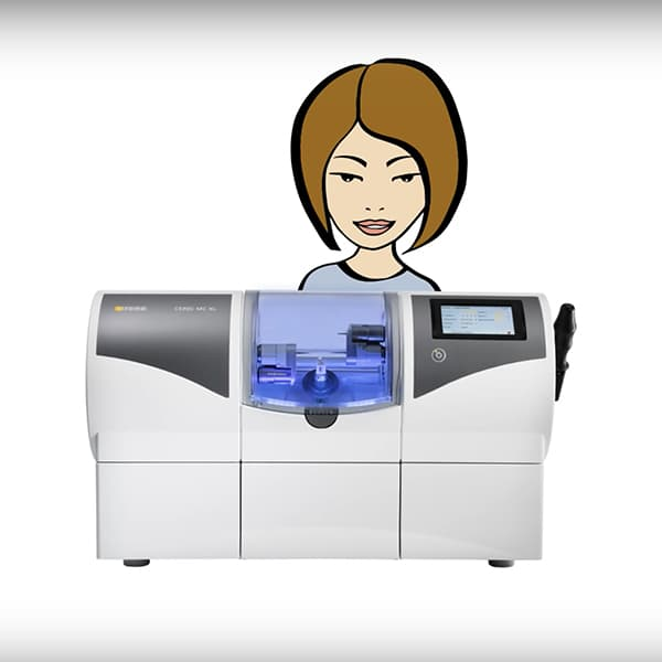 Video preview of an animated figure with a CEREC milling machine