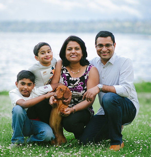 Dr. Madhavan and her family at a park